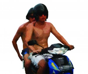 Bule on moped