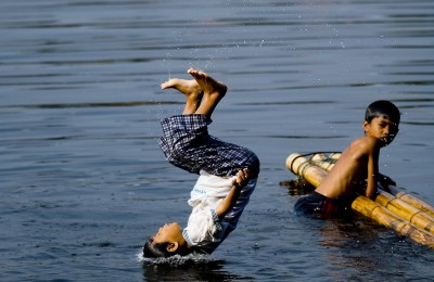 Children enjoying the lake at Setu Babakan