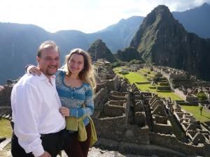 Jose Luis Mejia and Alesia Arnatovich on their honeymoon in Peru
