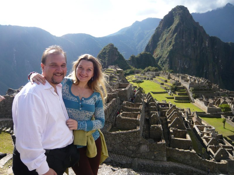Jose Luis Mejia and Alesia Arnatovich on their honeymoon in Peru