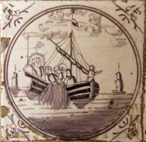 Delft tile - Jesus fishes with disciples after resurrection