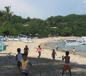 Football on Padangbai beach