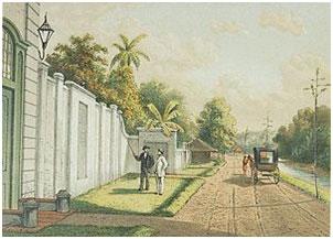 Lithography of the Pieter Erberveld Memorial by Josias Cornelis Rappard - 1888