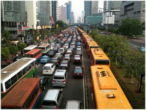 Traffic congestioneven for TransJakarta busses in their special lane