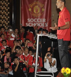 Rio Ferdinand of Manchester United giving a speech in Indonesia