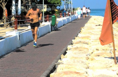 Out for morning exercise on Kuta's new breakwater