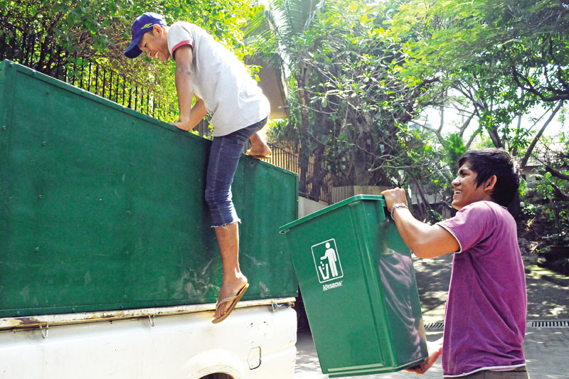 A Green project recyclable collection team at work in Cilandak