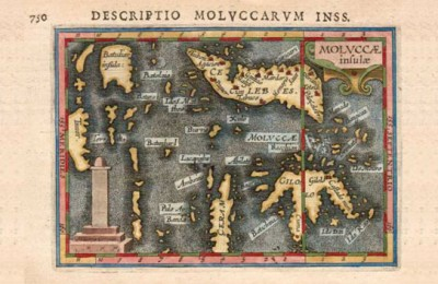 Map of Molluca circa 1616 by Petrus Bertius, courtesy of Bartele Gallery