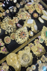 Traditional gold jewelry on display