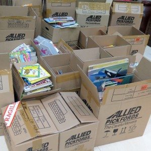 Boxes of Donated Books