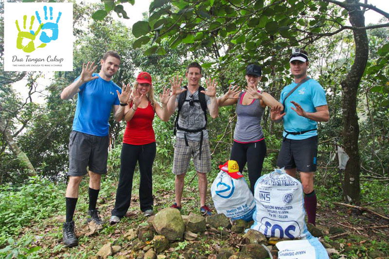 Hikers Collecting Rubbish on Gunung Parang
