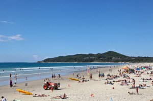 Tourists at Byron Bay beach over Easter