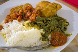 A humble portion of Javanese food at Warung Nikmat - Kuta