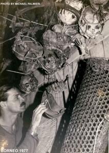 Michael with trophy skulls in Borneo 1977
