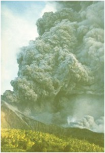 The eruption of a volcano on Machian island in 1988