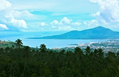 Manado Bay and Tanjung Tongkeina from Jl Trans Sulawesi on the way to Tomohon.