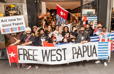 Protestors for West Papua's independence in Melbourne. Photo courtesy of Wikipedia Commons