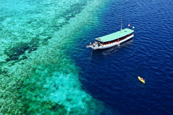 Wakatobi dive-snorkel boat on nearby reef | Photo by Didi Lotze