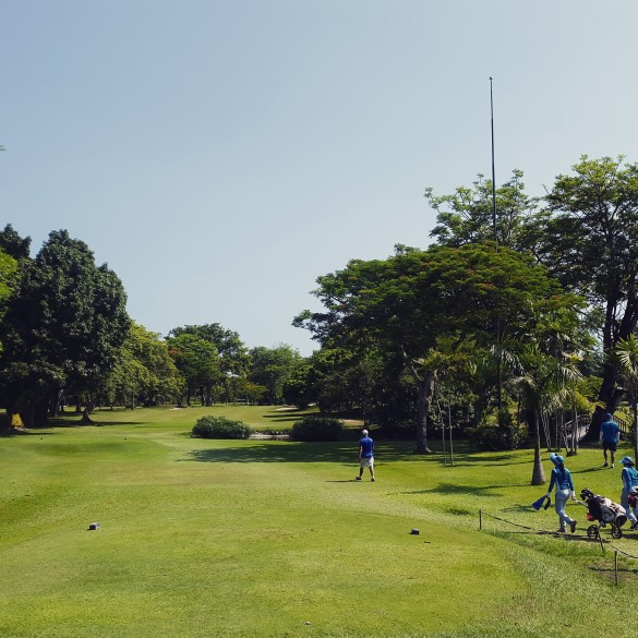 Hole #9 365 yard, Par-4 from the blue tees, the most challenging hole at Bali Beach