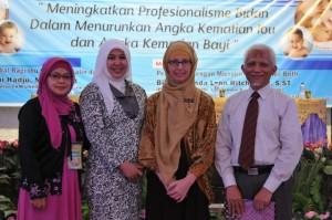 Dr Zulaika Asikin, Gorontalo Indonesian Midwifery Organization (IBI) and Prof Dr H Veni Madju with Brenda Ritchmond
