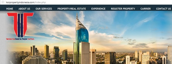 A screenshot of KCR's website, a property agency in Jakarta that has been scamming expatriates by renting out apartments for terms longer than actual leases