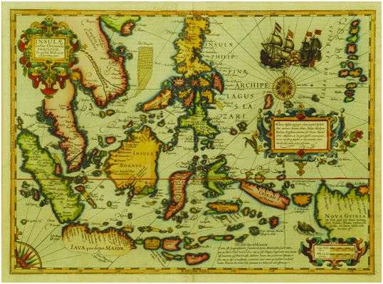 1606 map of SE Asia and Indonesia by Hondius showing Drake's landfall at Cilacap in 1580