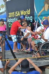 Bruno being crowned champion of the 2015 World Adaptive Surfing Championship