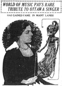 Eva Gauthier with wayang golek figure