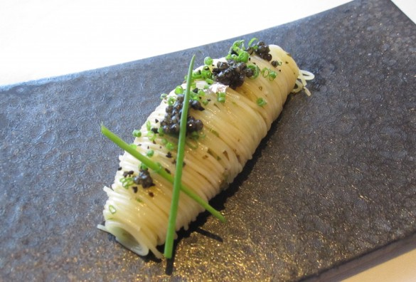 Angel hair pasta with black truffles and caviar