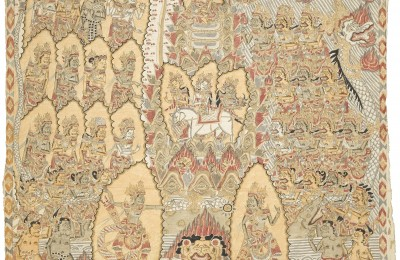 _The Turning of Mount Mandara_ .Mangku Mura 1973, natural pigments on cloth, Photo -David Irons