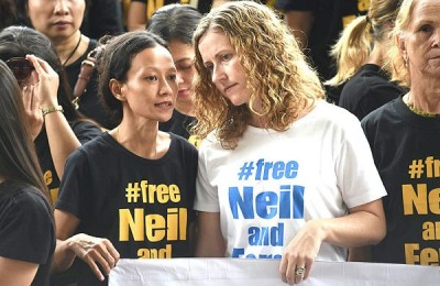 Tracy Bantleman (R), wife of accused Canadian teacher Neil Bantleman, listens to Siska Tjiong, wife of co-accused Indonesian teaching assistant Ferdinand Tjiong, during a rally to support their husbands at the South Jakarta court in Jakarta on December 2, 2014. Bantleman, who worked at the prestigious Jakarta International School (JIS), was arrested in July along with a teaching assistant during a police investigation into the alleged sexual assault of three kindergarten students. Bantleman and co-accused Ferdinand Tjiong, could face up to 15 years in prison if convicted. AFP PHOTO / ADEK BERRY