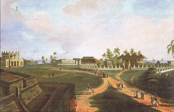 A drawing of the city Bengkulu during the colonial period