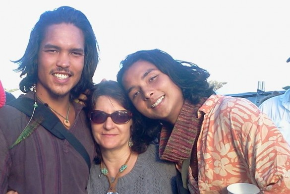Kim with Ben (left) and Krisna (right)