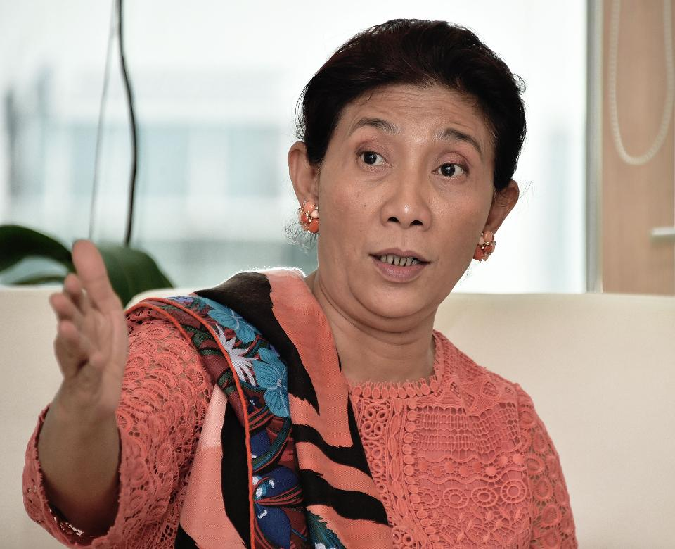 Minister Susi Pudjiastuti of the Ministry of Maritime Affairs and Fisheries