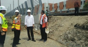 President Jokowi inspecting the LRT project at Cibubur