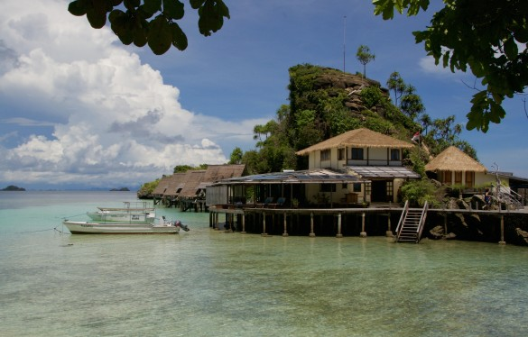 Misool Eco Resort's dive shop welcomes guests to the sparkling clear waters of Batbitim Island's lagoon.