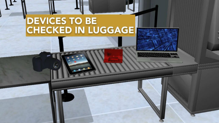 Devices to be Checked in Luggage