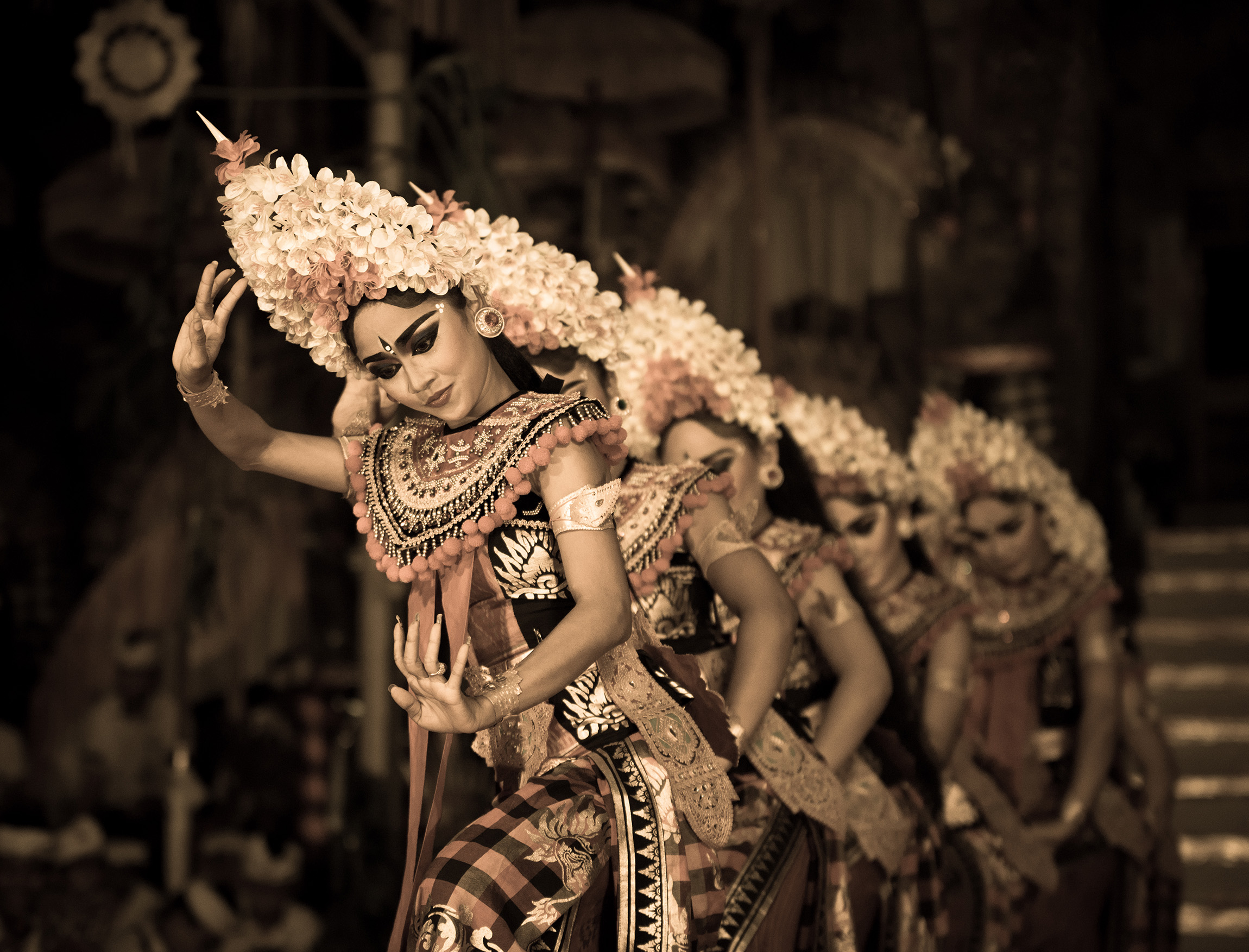 SYMMETRY: These ladies were dancing for the gods at a temple ceremony in the Ubud area of Bali.