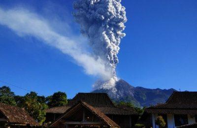 Mount Merapi Spewing Ash
