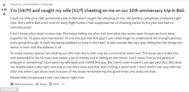 Man Gets Cheated on During 10-year Anniversary Trip to Bali