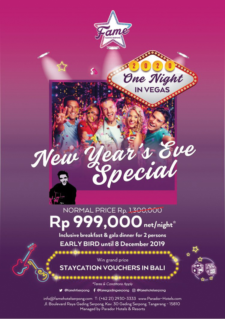 New Year S Eve 2020 Fame Hotel Gading Serpong Presents One Night In Vegas Indonesia Expat