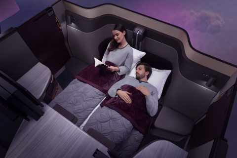 Qsuite Double beds Qatar Airways